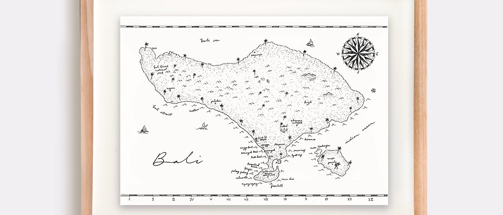 The Bali Map Illustration Limited Edition Print