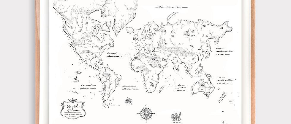 World Atlas Illustration Limited Edition Print