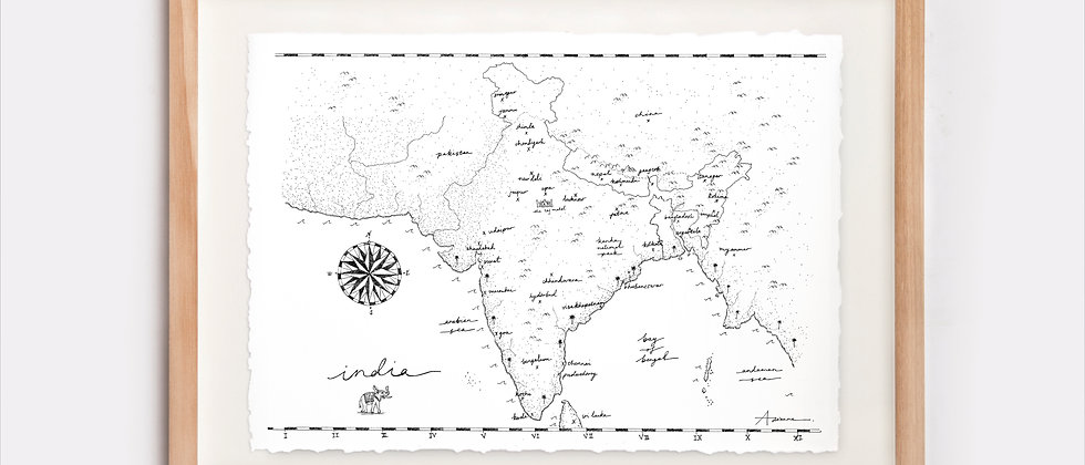 India Map Illustration Limited Edition Print