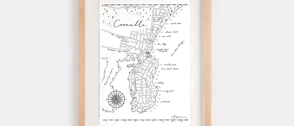 Cronulla Map Illustration Limited Edition Print