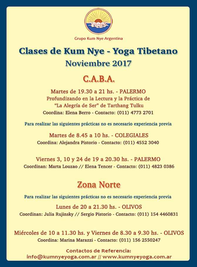 Clases de Kum Nye - Yoga Tibetano en C.A.B.A. • Noviembre 2017