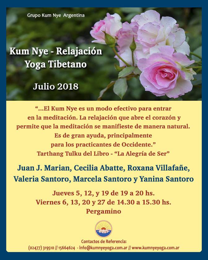 Clases de Kum Nye- Yoga Tibetano en Pergamino • Julio 2018