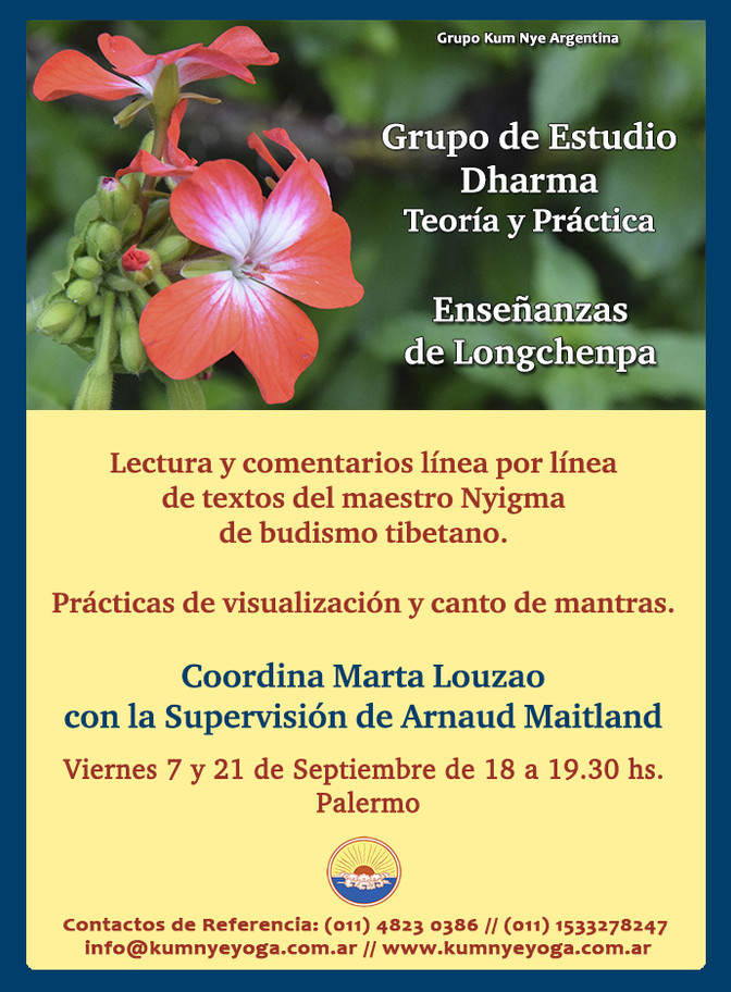 Grupo de Estudio Dharma - Enseñanzas de Longchenpa  • Septiembre 2018