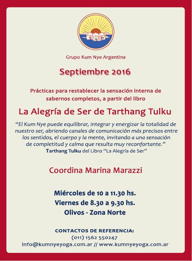 La Alegría de Ser de Tarthang Tulku  •  Septiembre 2016 en C.A.B.A.