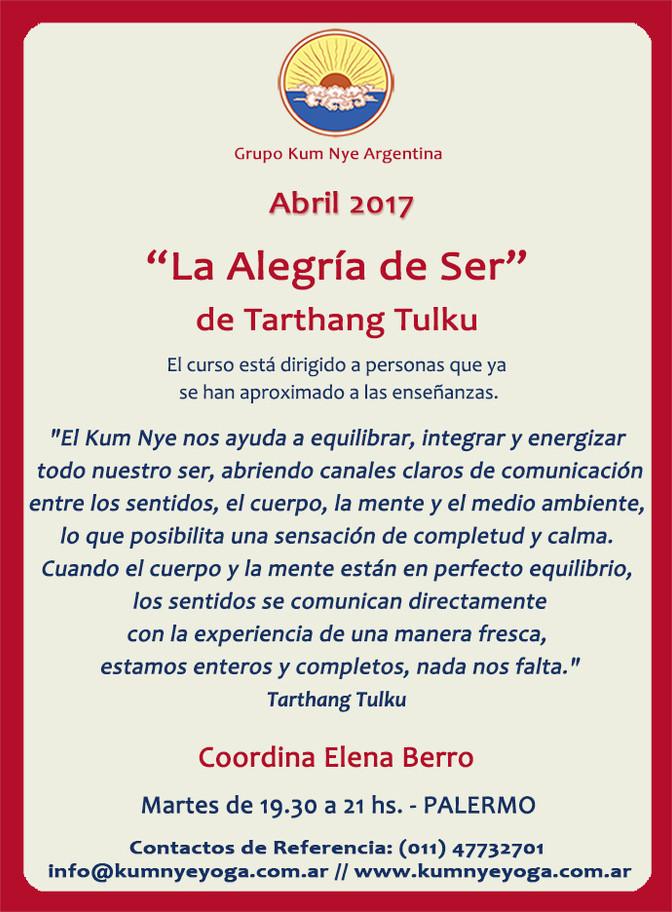 """""""La Alegría de Ser"""" de Tarthang Tulku en Palermo • Abril 2017"""