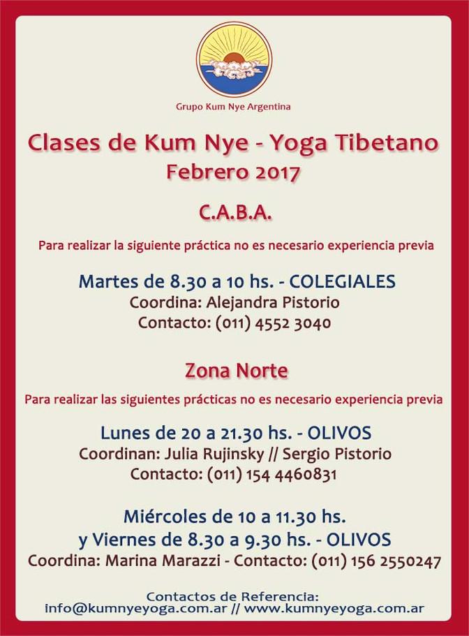 Clases de Kum Nye - Yoga Tibetano en C.A.B.A. • Febrero 2017