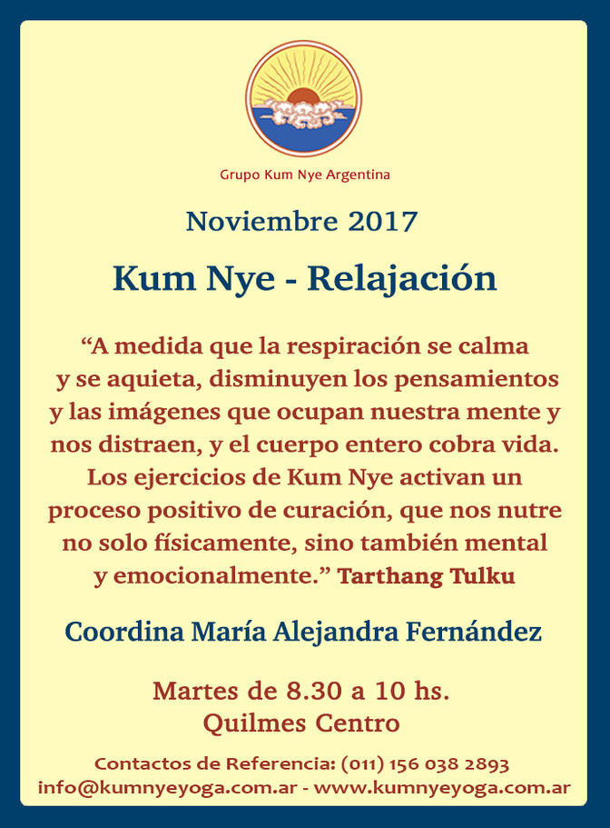 Kum Nye - Relajación en Quilmes Centro • Noviembre 2017