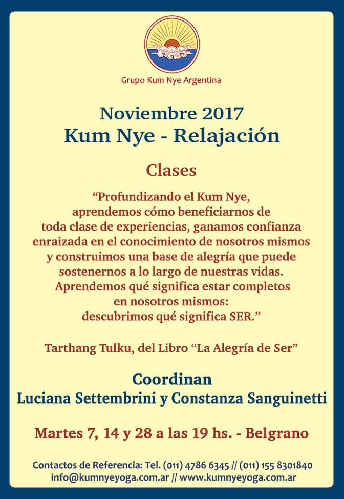 Clases de Kum Nye - Relajación en Belgrano • Noviembre 2017