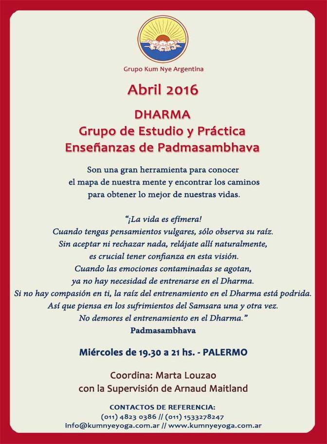 Dharma. Grupo de Estudio y Práctica. Enseñanzas de Padmasambhava • Abril 2016