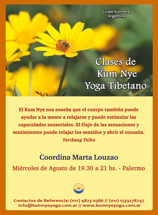 Clases de Kum Nye - Yoga Tibetano en Palermo - Agosto 2019