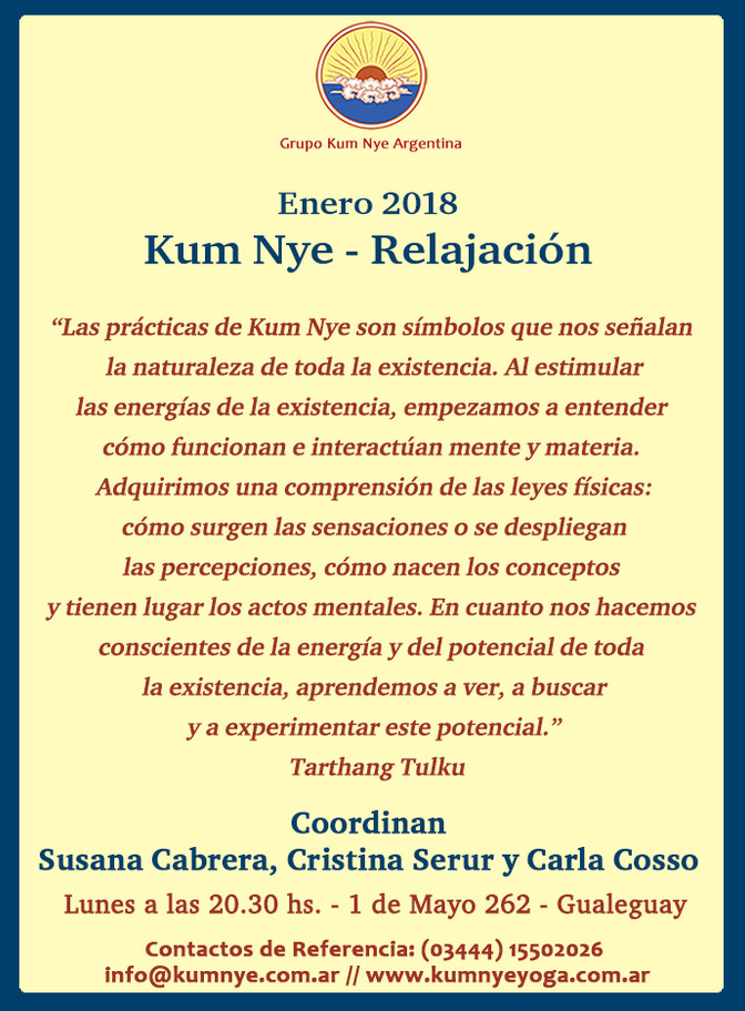 Kum Nye Relajación en Gualeguay • Enero 2018