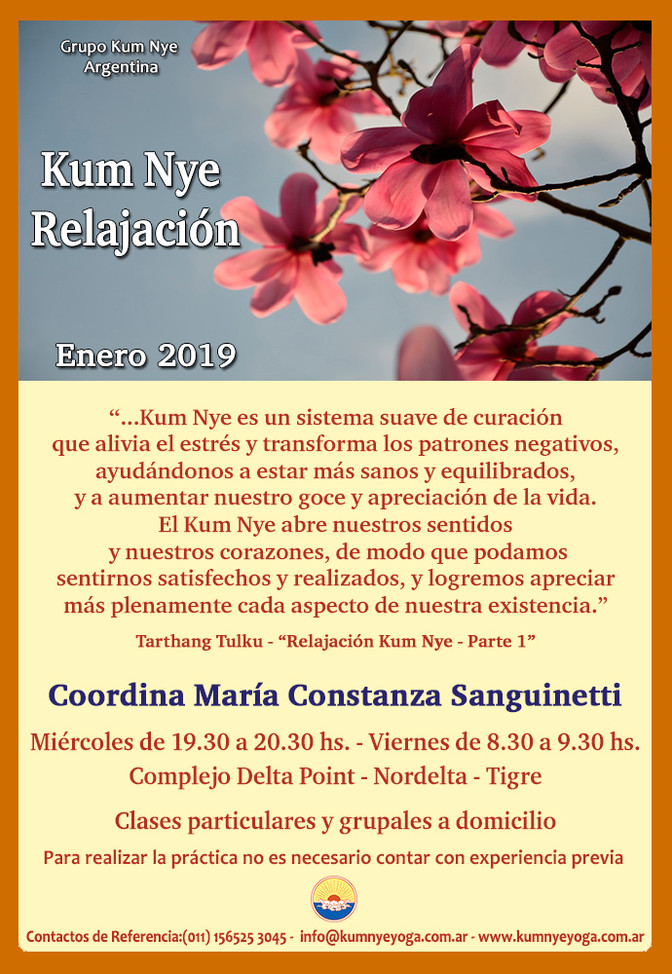 Clases de Kum Nye Relajación - Nordelta Tigre - Enero de 2019