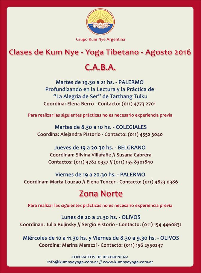 Clases de Kum Nye en CABA y Zona Norte  • Agosto 2016