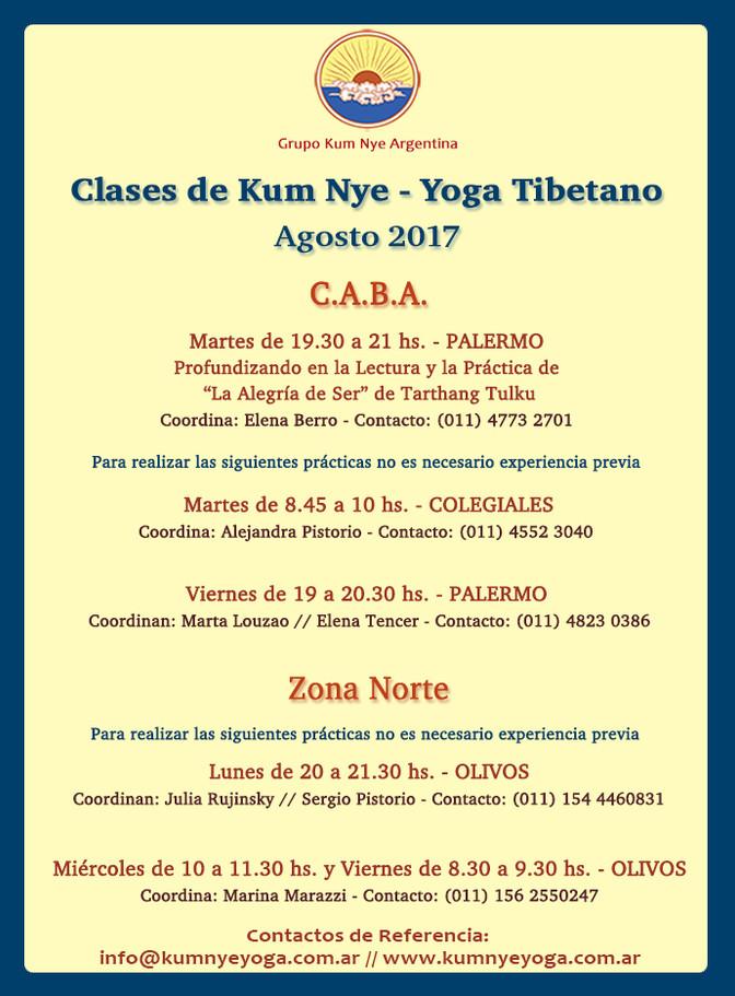 Clases de Kum Nye - Yoga Tibetano en C.A.B.A. y Zona Norte •  Agosto 2017