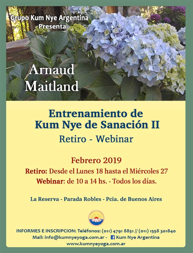 Arnaud Maitland en Argentina - Entrenamiento de Kum Nye de Sanación II - Febrero de 2019