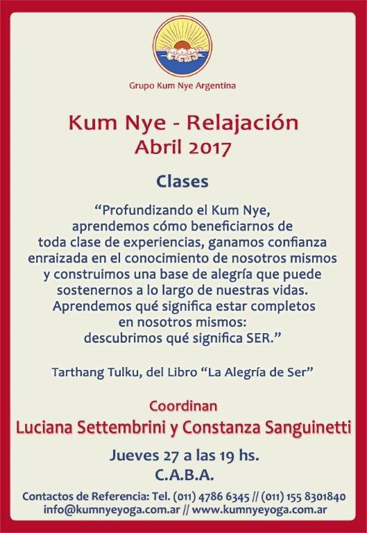 Kum Nye - Relajación en C.A.B.A. • Abril 2017