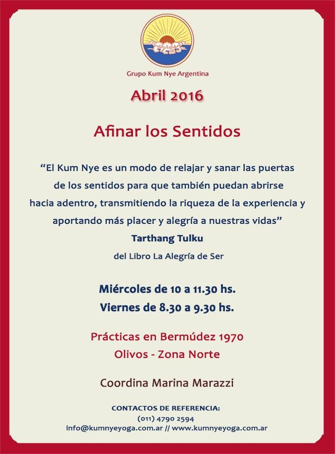 Kum Nye - Afinar los Sentidos • Abril 2016
