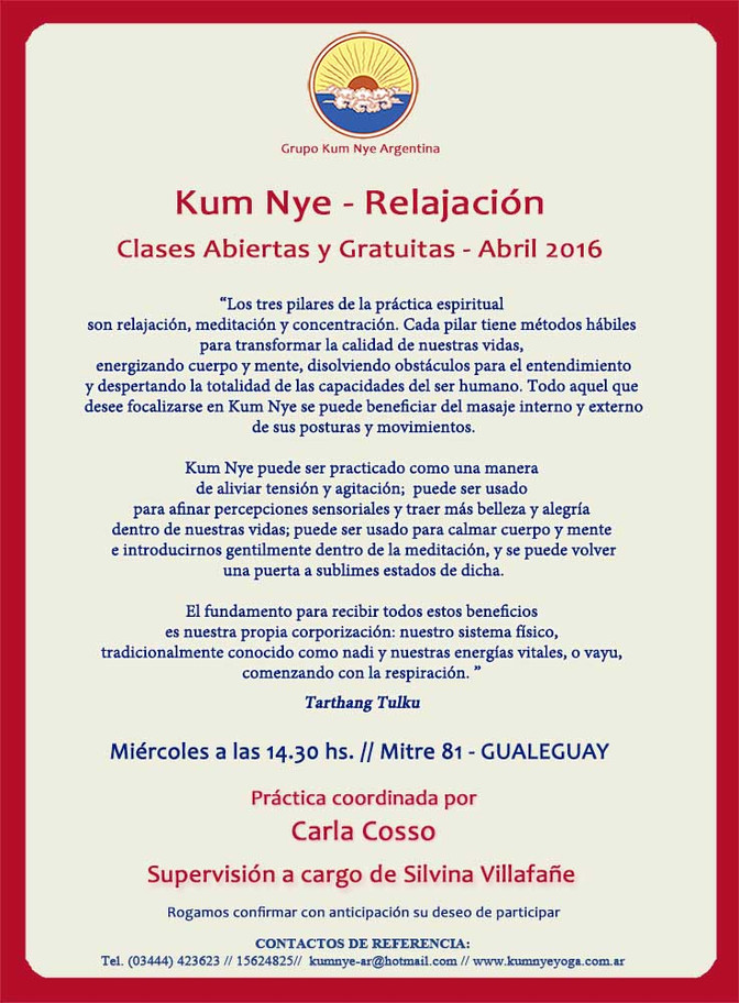 Clases Abiertas y Gratuitas de Kum Nye en Gualeguay • Abril 2016