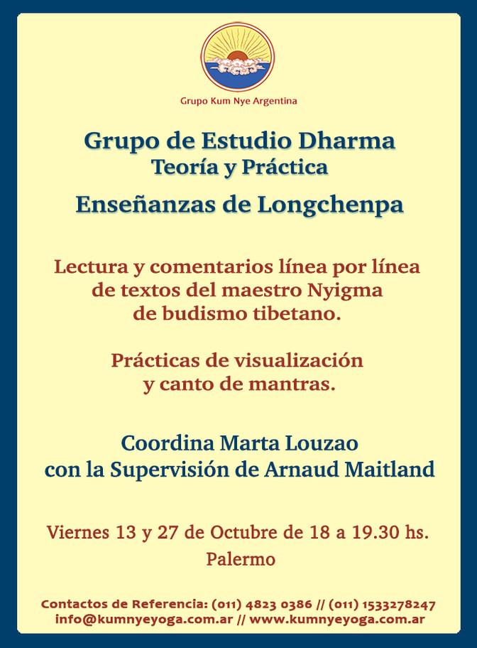 Grupo de Estudio Dharma - Enseñanzas de  Longchenpa • Octubre 2017