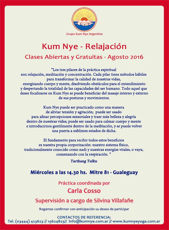 Clases de Kum Nye Abiertas y Gratuitas en Gualeguay  • Agosto 2016