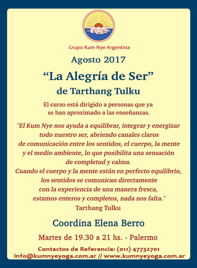 "Kum Nye ""La Alegría de Ser"" - Palermo • Agosto 2017"