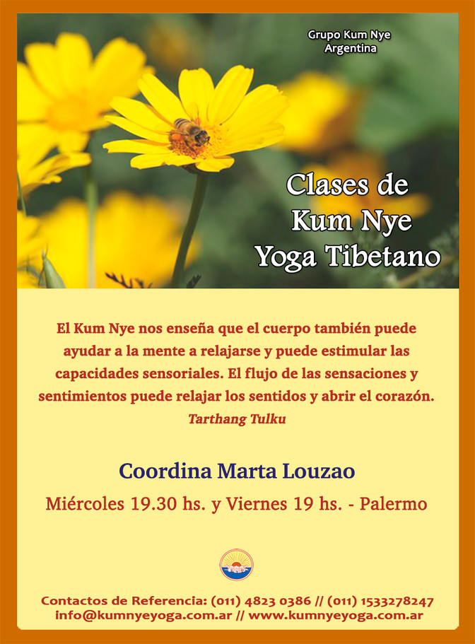 Clases de Kum Nye - Yoga Tibetano - Palermo - Octubre 2019