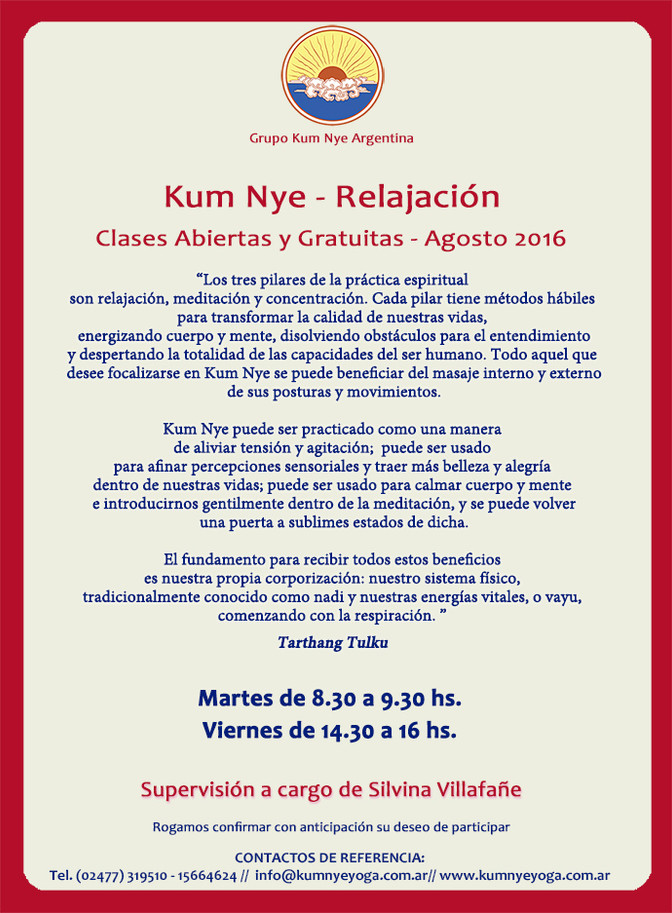 Clases de Kum Nye Gratuitas en Pergamino  • Agosto 2016