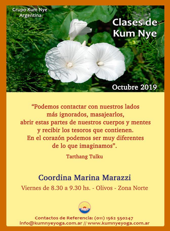 Clases de Kum Nye - Viernes - Olivos - Octubre 2019