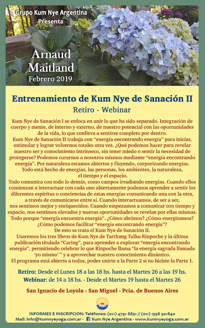 Entrenamiento en Kum Nye de Sanación II - Arnaud Maitland - Febrero de 2019