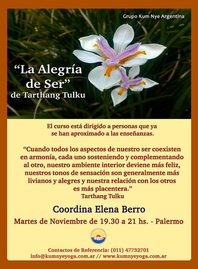 """""""La  Alegría de Ser"""" de Tarthang Tulku en Palermo - Noviembre 2019"""