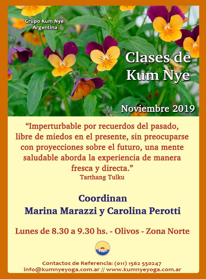 Clases de Kum Nye - Olivos - Noviembre 2019