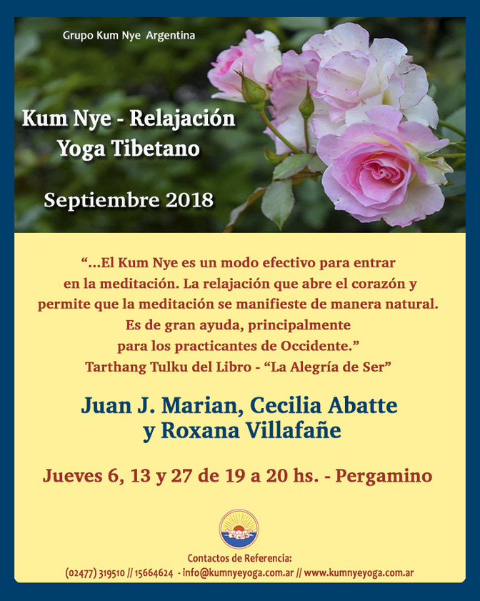 Clases de Kum Nye - Yoga Tibetano en Pergamino • Septiembre 2018