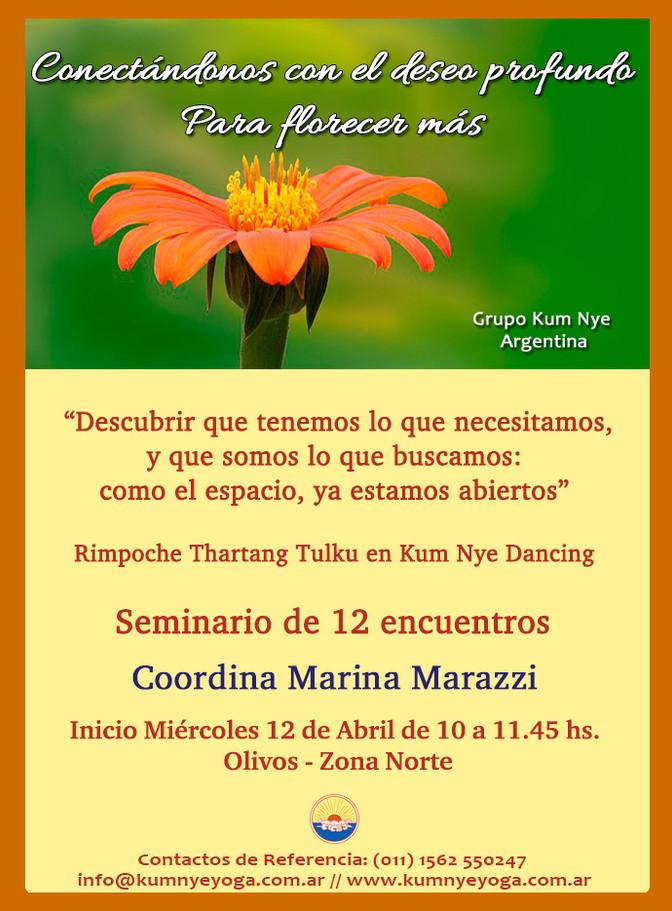 """Seminario de 12 encuentros: """"Conectándonos con el deseo profundo para florecer más"""" - Inic"""