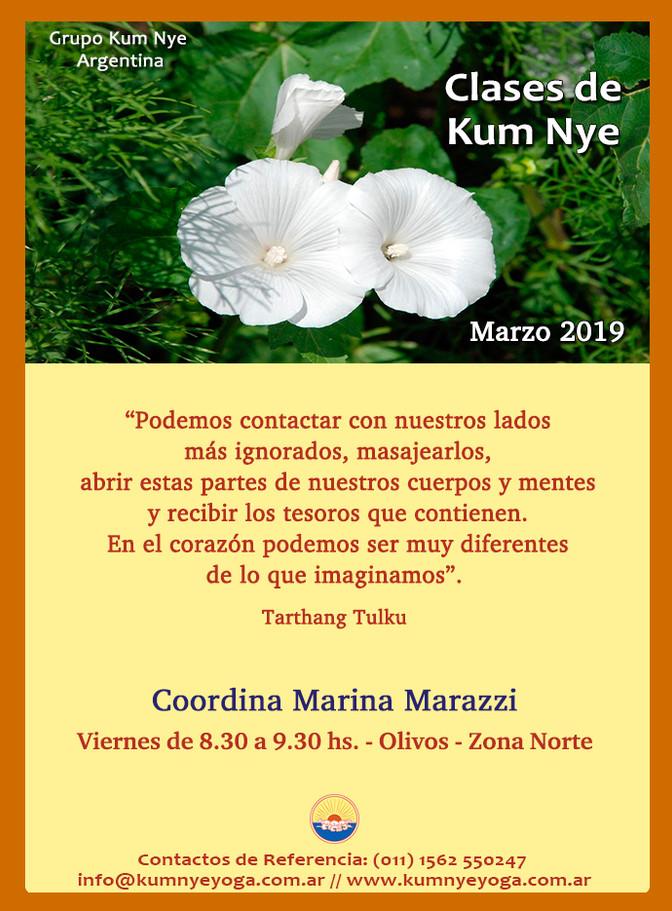 Clases de Kum Nye - Yoga Tibetano en Olivos- Marzo de 2019