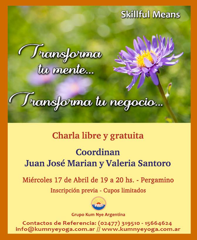 """Charla libre y gratuita: """"Transforma tu mente ... Transforma tu negocio"""" - Pergamino - Abr"""