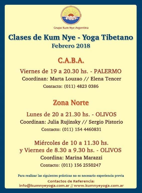 Clases de Kum Nye - Yoga Tibetano en C.A.B.A. • Febrero 2018