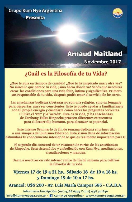 ¿Cuál es la filosofía de tu vida? - Arnaud Maitland en Argentina • Noviembre 2017