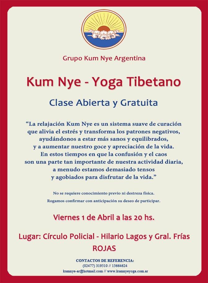 Kum Nye -Yoga Tibetano en Rojas • Abril  2016