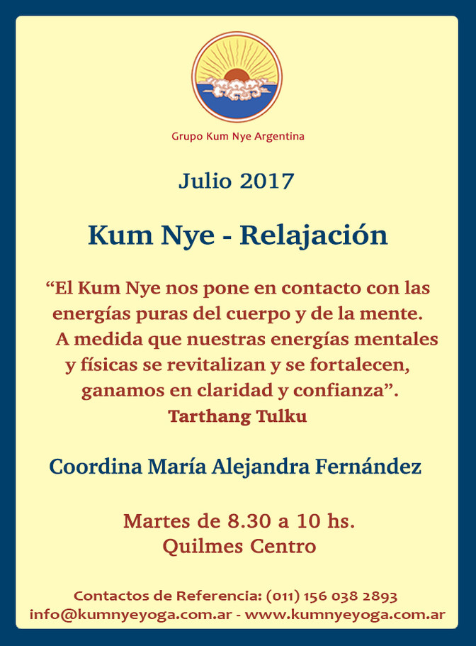 Kum Nye - Relajación en Quilmes Centro • Julio 2017