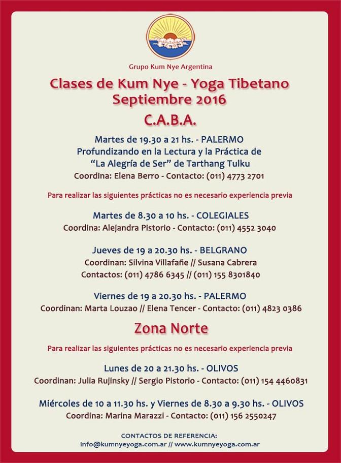 Clases de Kum Nye - Yoga Tibetano  •  Septiembre 2016 en C.A.B.A.