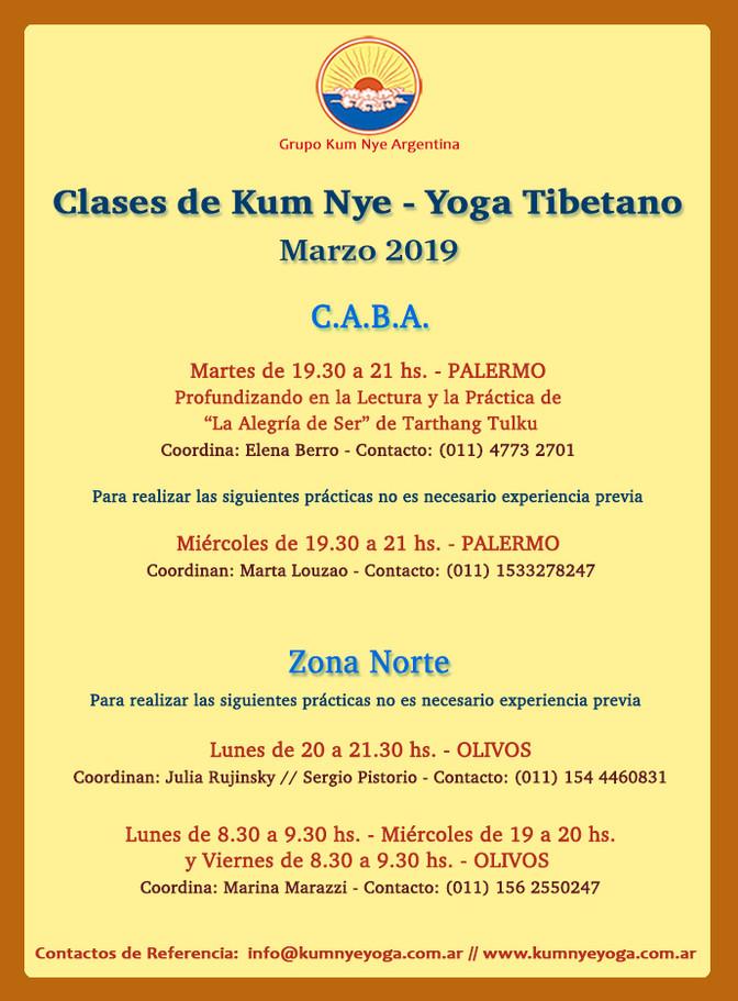 Clases de Kum Nye - Yoga Tibetano en C.A.B.A. y Zona Norte - Marzo 2019