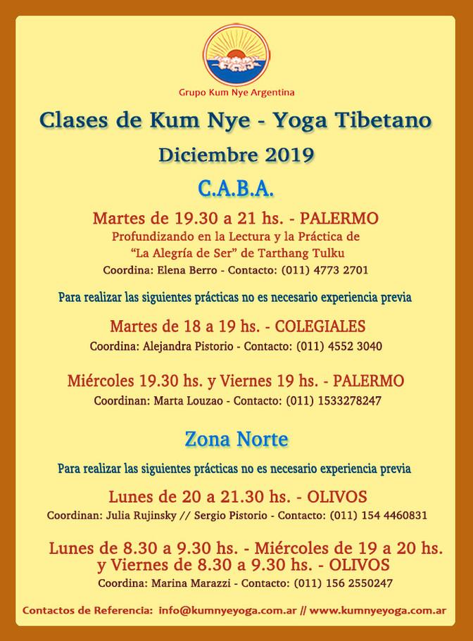 Clases de Kum Nye - Yoga Tibetano en C.A.B.A. y Zona Norte - Diciembre 2019