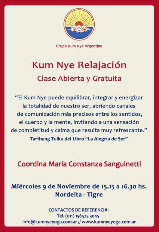 Kum Nye - Relajación en Nordelta - Tigre • Noviembre 2016
