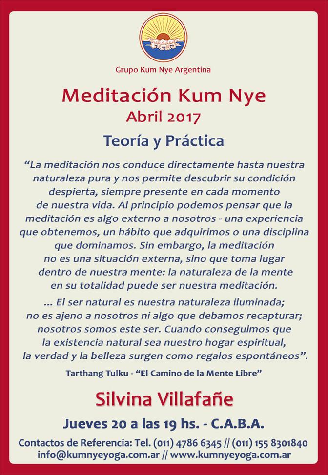 Meditación Kum Nye - Teoría y Práctica • Abril 2017