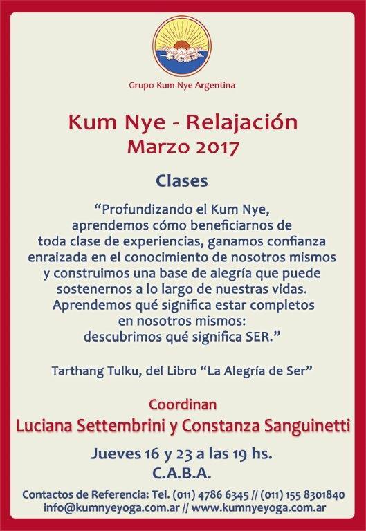 Clases de Kum Nye - Relajación en C.A.B.A. • Marzo 2017