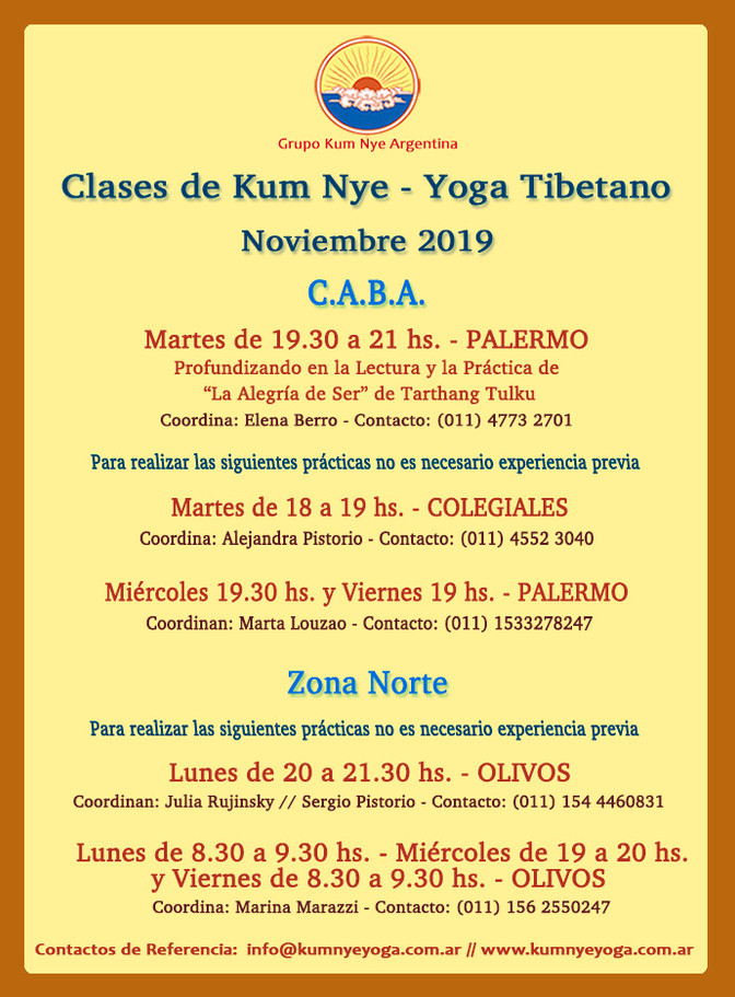 Clases de Kum Nye - Yoga Tibetano en C.A.B.A y Zona Norte -Noviembre 2019