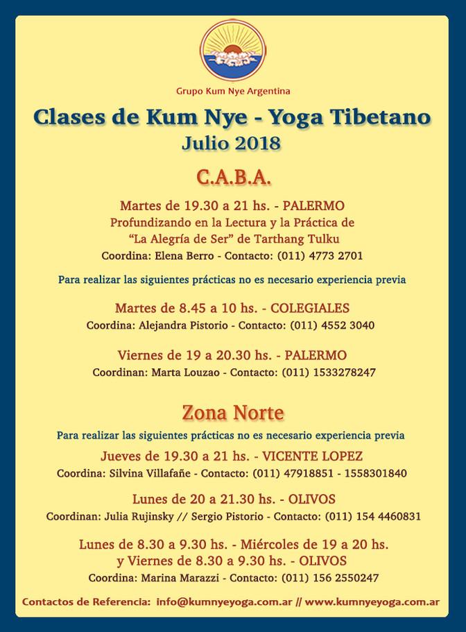 Clases de Kum Nye - Yoga Tibetano en C.A.B.A y Zona Norte  • Julio 2018