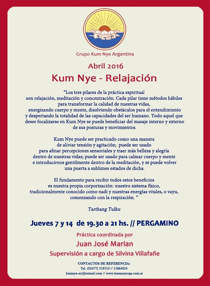 Clases de Kum Nye - Relajación en Pergamino • Abril 2016