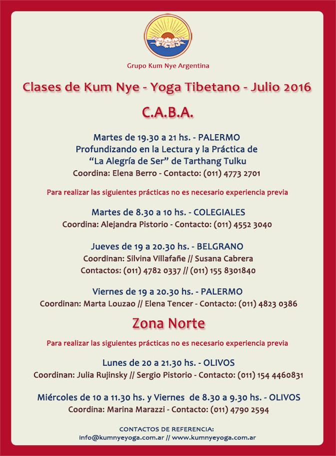Clase de Kum Nye Yoga Tibetano en C.A.B.A. • Julio 2016