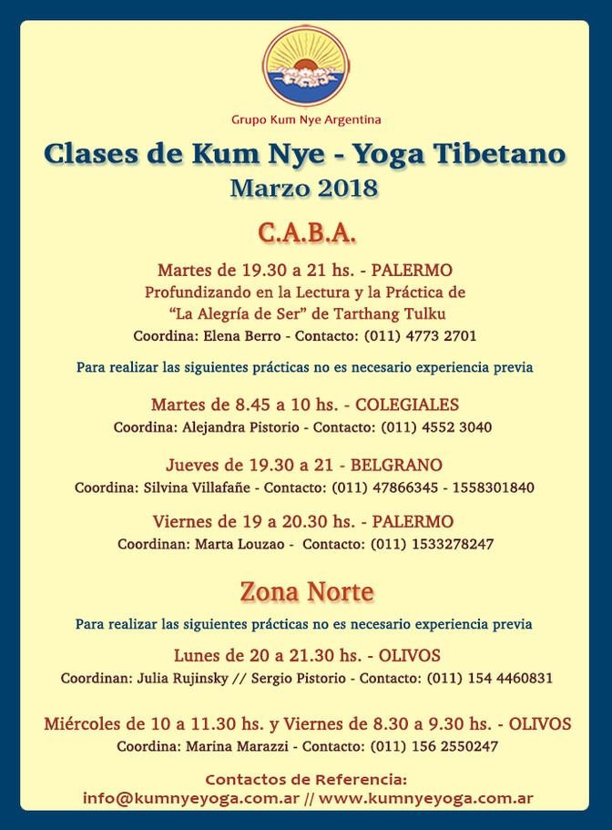 Clases de Kum Nye - Yoga Tibetano en C.A.B.A. • Marzo 2018